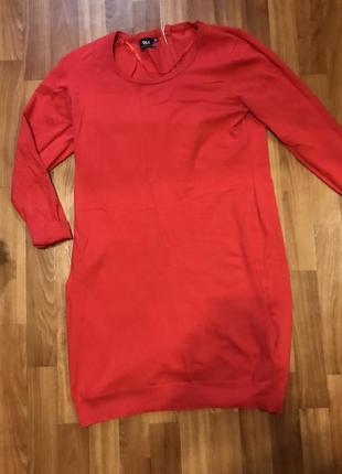 Красное платье свитер  с длинным рукавом❤️