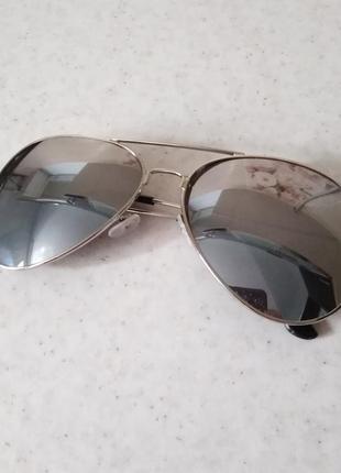 Серебрянные зеркальные очки, унисекс
