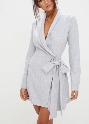 Платье в клетку пиджак блейзер жакет на запах халат брендовое
