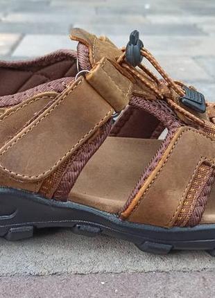 Босоножки сандалии мужские кожаные спортивные на липучках restime nml20116 2 цвета
