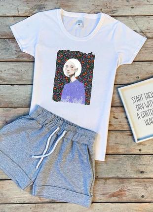 Крутой и очень стильный летний комплект шорты и футболка, качественный коттон (хс-л)