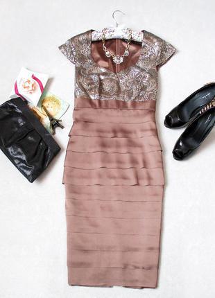 Атласное платье миди от vera mont с шикарной вишивкой, размер 10-12(uk), см. замеры