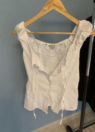 Белая блуза рубашка топ