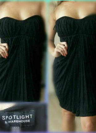 46-48р m-l черное платье бандо от warehouse