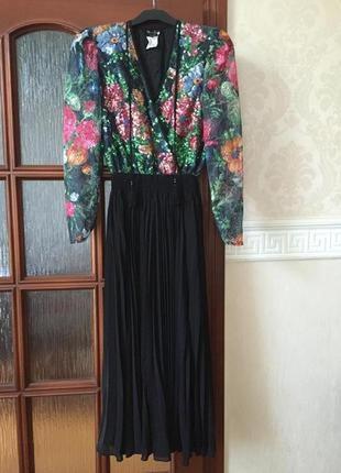 Diane freis эксклюзивное вечернее винтажное платье плиссе р. 44-46