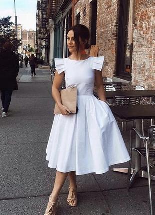 Невероятное белоснежное нарядное пышное платье миди 100%коттон,новое,размер xs/s