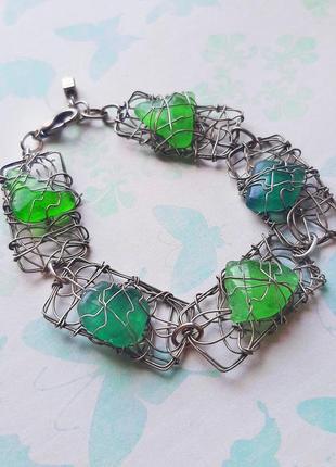 Браслет зелёный ажурный изумруд эксклюз камень морское стекло проволка ювелир hand