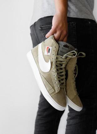 Nike blazzer olive кроссовки найк блейзер