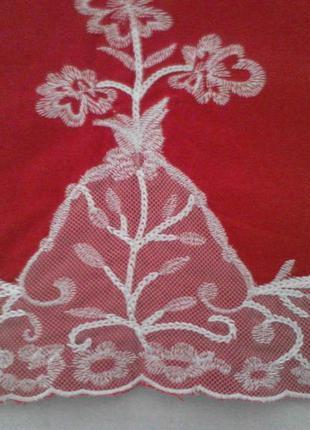 Красная  юбка 55% лен 45% вискоза с кружевной отделкой4