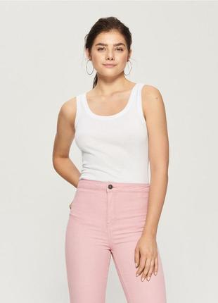Новая однотонная облегающая белая майка топ футболка с бретелями польша хлопок xs s m l xl