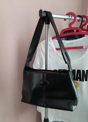Шикарная, черная, кожаная сумка ( винтаж🔥🔥🔥)