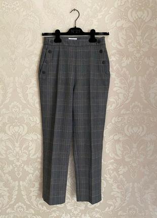 Sandro оригинал классические брюки в клетку высокая талия