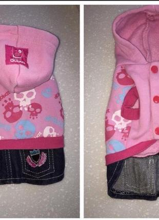 Кофта кофточка с капюшоном с юбочкой для маленькой собачки