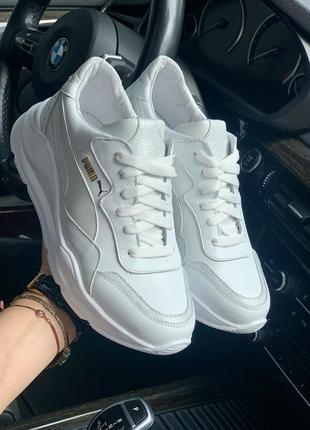 Женские кроссовки puma белые кожаные