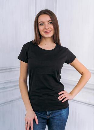 Жіноча футболка однотонна бавовна коттон базовая