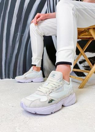 Шикарные кроссовки adidas falcone в белом цвете (36-40)