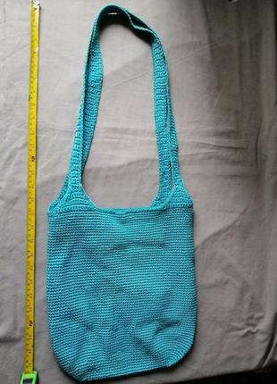 Бирюзовая вязаная летняя сумка fabrizio