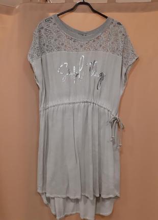 Платье летнее с кружевом туника оверсайз