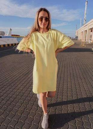 Oversize платье с поясом хлопковый трикотаж