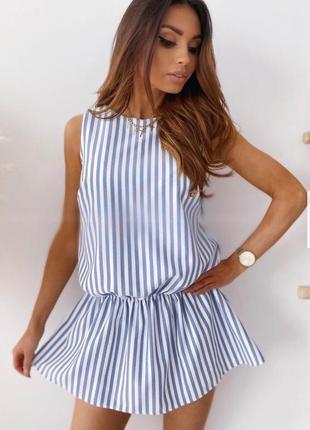 Шикарное нарядное коктейльное платье летнее легкое лен в полоску