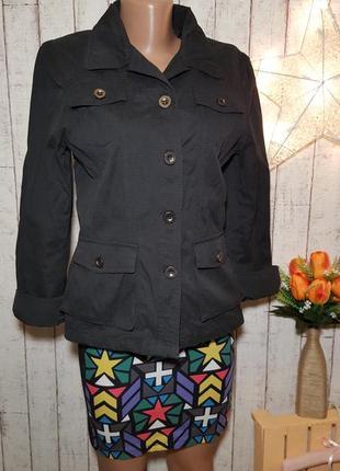 Черный базовый пиджак рубашка жакет блейзер на пуговичках с карманами р. м