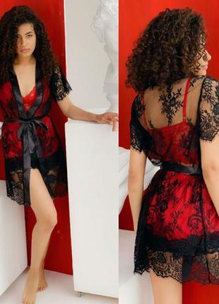 Набор халат с пижамой (шорты + топ кружево)