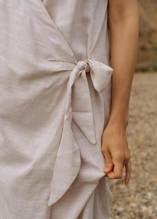 Молочное платье хлопок с льном