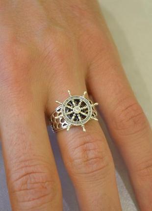 Кольцо из серебра штурвал