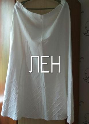 Льняная белая юбка миди m&s