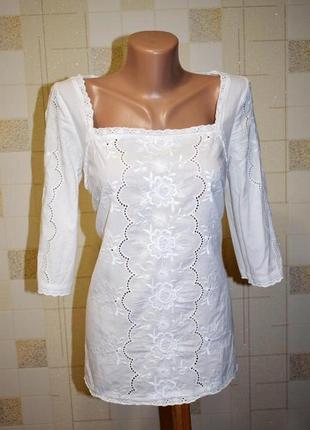 Хлопковая вышитая блуза monsoon вышиванка