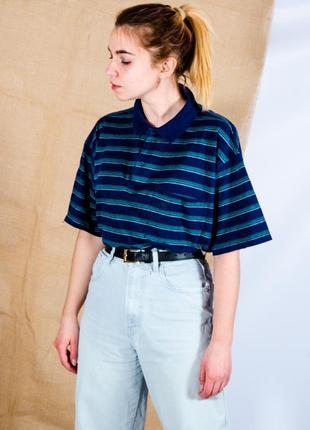 Женская футболка-поло в полоску