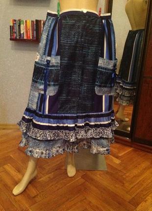 Натуральная, замечательная, дизайнерская юбка на кнопках, р. 56-64