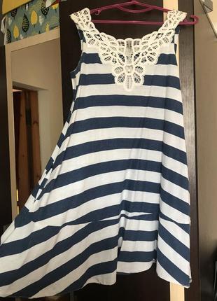 Платье poliit, льняное, в полоску, кружево