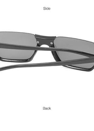 Полуободковые прямоугольные черные солнцезащитные очки с серой дымчатой линзой4 фото