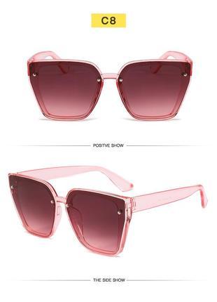 Солнцезащитные розовые очки-трапеции с дымчатой линзой-накладкой2 фото