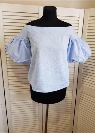 Стильная блуза голевого цвета рукава фонарики фонариками жатая ткань
