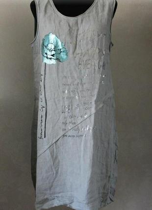 Платье лён с цветком, размер 52