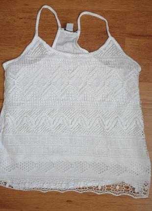 Майка блуза с кружевом на подкладке