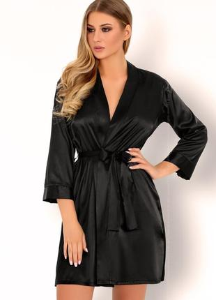 Edelina халат черный атласный livia corsetti