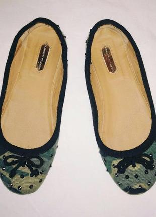 Балетки камуфляжной расцветки. туфли камуфляжной расцветки. с шипами. dorothy perkins.