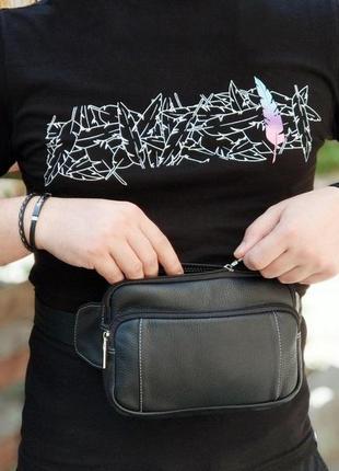 Поясная мужская кожанная сумка, натуральная кожа 100%