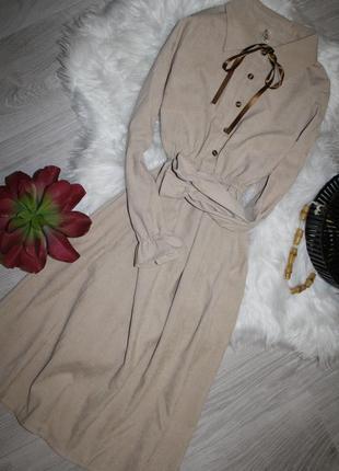Вельветовое бежевое платье с бантиком