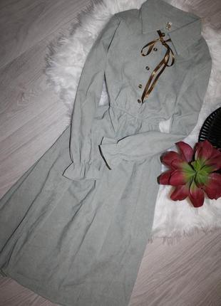 Вельветовое мятное платье