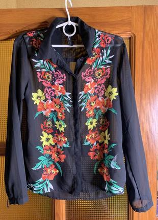 Шикарная/новая/блуза/блузка/прозрачная/с принтом/длинный рукав/чёрная