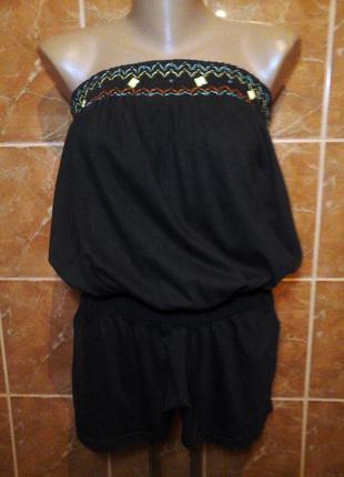 Трикотажный комбинезон ромпер с короткими широкими шортами