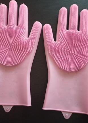 Силиконовые перчатки для мытья посуды скруббер розовые рукавиці для миття посуду
