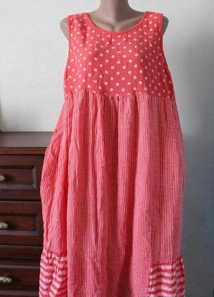 Платье в горошек, размер 56-58