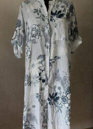 Платье-рубашка в цветы, размер 52-58