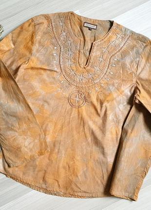 Хлопковое индийское сари руюашка с вышивкой extrada италия