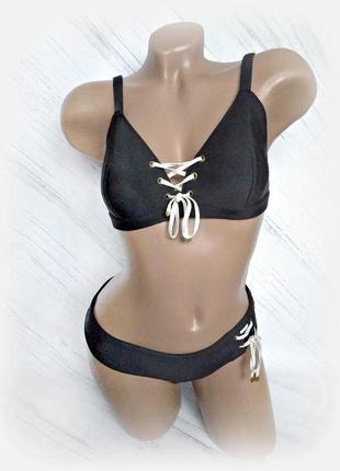 Сексуальный черный раздельный купальник на шнуровке от love stories size 3